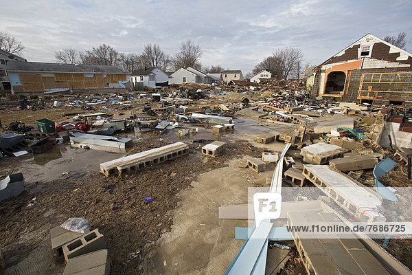 Debris from destruction of a seaside community by Hurricane Sandy