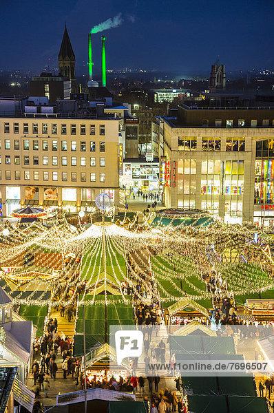 Christmas market on Kennedyplatz square  downtown Essen Christmas market on Kennedyplatz square, downtown Essen
