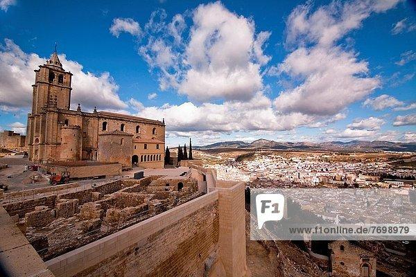 View of the archaeological site and Abbey church La Mota castle Alcala la Real  Jaen  Spain