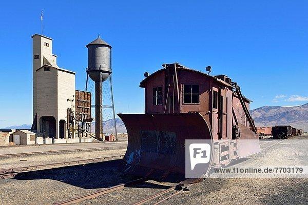 historic snowplow at Nevada Northern Railway Museum  Ely  Nevada  USA  North America