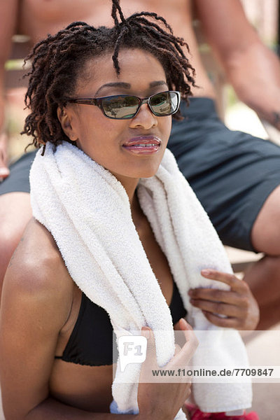 Woman wearing towel outdoors