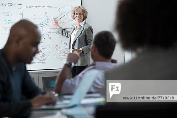 Geschäftsfrau bei der Erstellung von Diagrammen im Meeting