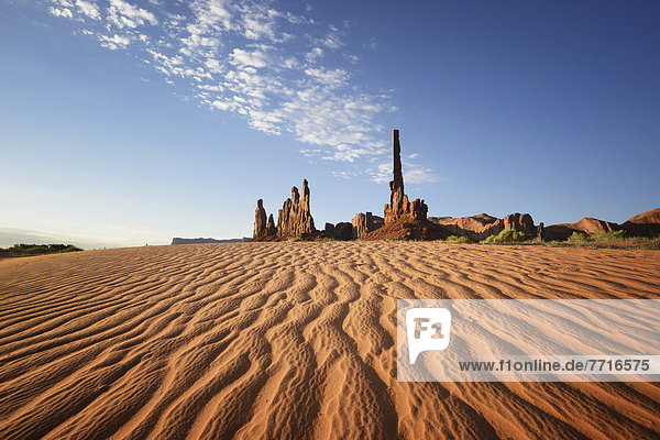 Sand ripples and rock formation Monument valley arizona usa