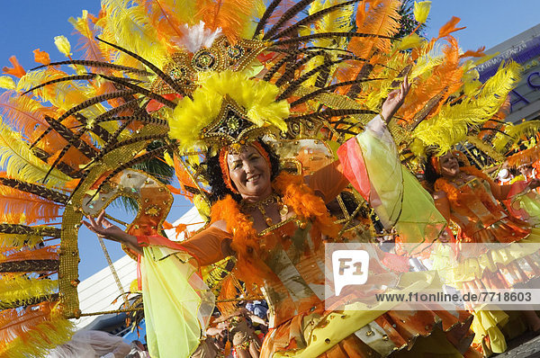 Woman Dancing At International Carnival Of Puerto De La Crux In Gran Coso Apoteosis