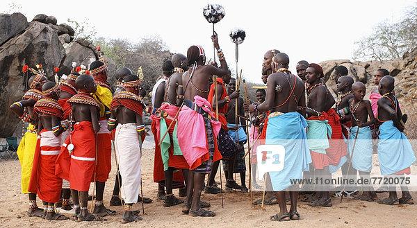 Samburu Dancers At Courtship Ceremony