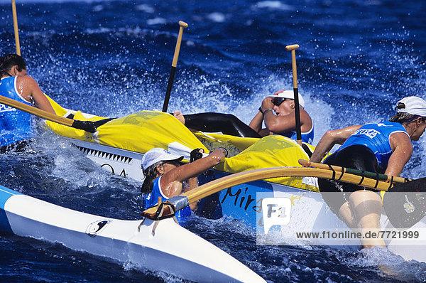 Frau  Wandel  Boot  Bewegung  Ruderer  bekommen  Hawaii