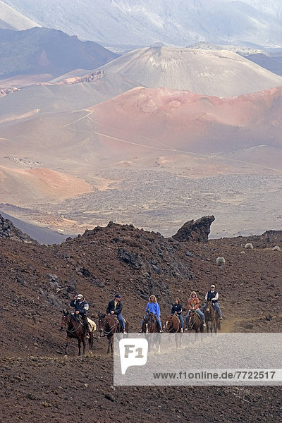 rutschen folgen fahren Sand reiten - Pferd Haleakala East Maui Volcano klettern Hawaii Maui