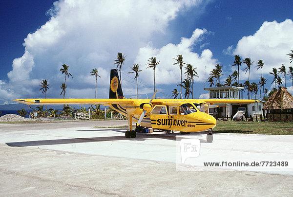 Fiji,  Taveuni Airport,  Sunflower Airlines Airplane On The Tarmac