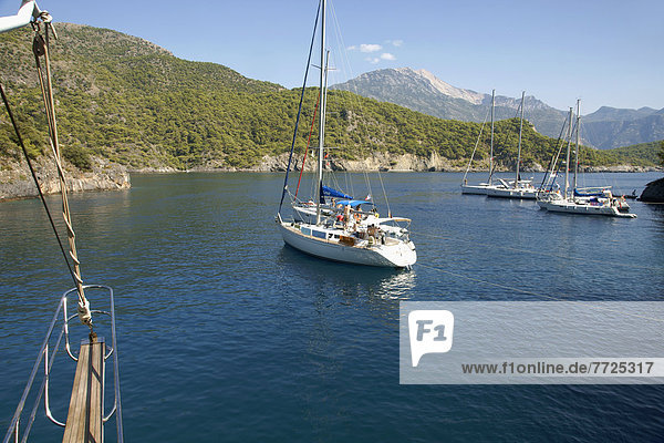 Pleasure Cruise Boats From Oludeniz  In Coldwater Bay  The Turquoise Coast  Southern Turkey