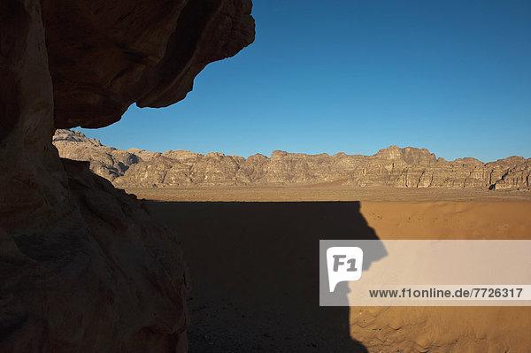 Shadow Of Rock On Desert  Wadi Rum  Jordan  Middle East
