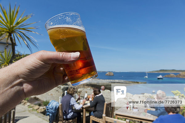 Having A Pint Of Real Ale At The Turks Head  Britain's Most South Westerly Pub  St Agnes  Isles Of Scilly  Cornwall  Uk  Europe