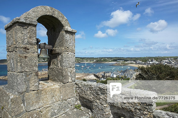 Hugh Town Viewed From The Bell Tower At The Star Castle Hotel  St Mary's  Isles Of Scilly  Cornwall  Uk  Europe