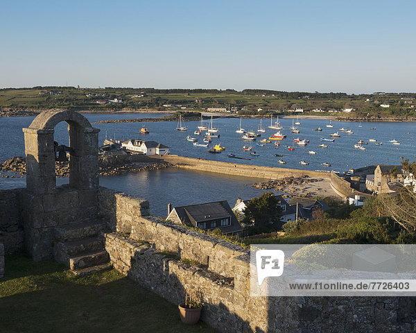 Hugh Town Viewed From The Ramparts At The Star Castle Hotel  St Mary's  Isles Of Scilly  Cornwall  Uk  Europe
