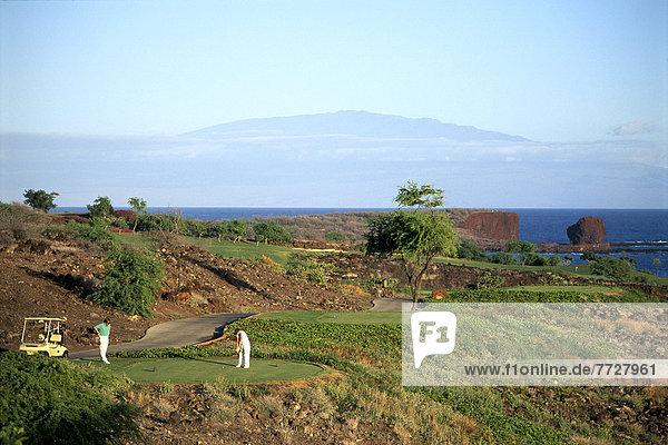 Herausforderung  einlochen  Golfsport  Golf  Kurs  Hawaii  Lanai