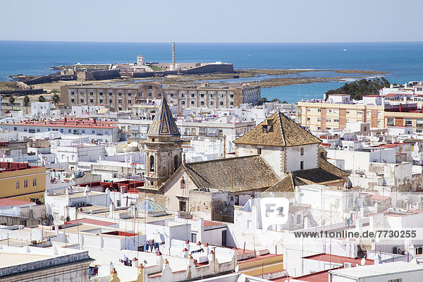 View Of The Cityscape And Ocean From The Torre Tavira Tower  Cadiz  Andalusia  Spain