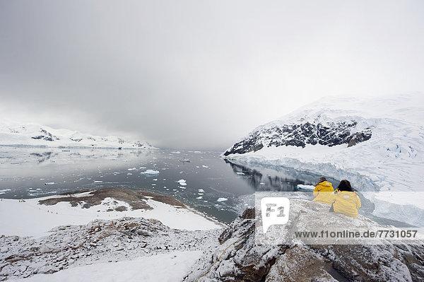 gelb Jacke Tourist Antarktis