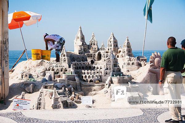 Wasserrand  bauen  Sand  Brasilien  Rio de Janeiro  Sandburg