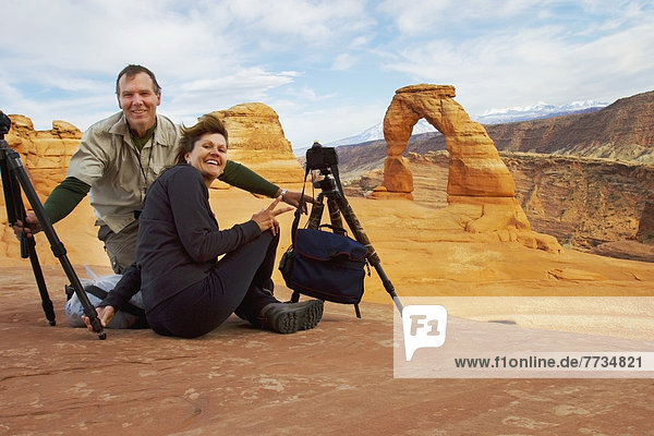 Photographers At Delicate Arch  Utah United States Of America