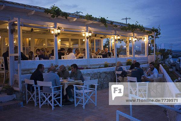 A fish restaurant in the evening  Alacati  Izmir province  Turkey  Asia