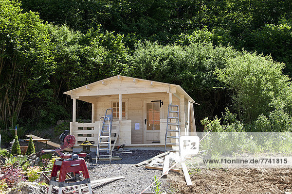 Europe  Germany  Rhineland Palatinate  Construction of garden shed