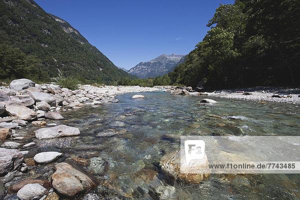 Europa  Schweiz  Blick auf den Fluss Verzasca