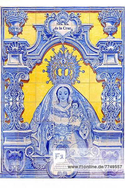 Marienbild aus Kacheln  Kirche Santo Domingo de Guzmán  Benalmádena  Andalusien  Spanien