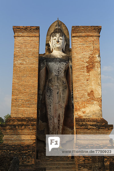 Buddha statue in Wat Mahathat Temple in Sukhothai Historical Park  UNESCO World Heritage Site