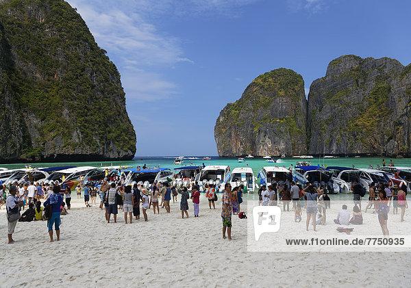 Numerous tourists flocking to Maya Beach  film location of The Beach with Leonardo Di Caprio