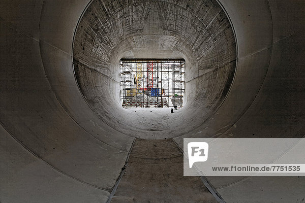 Baustelle Neues Wasserkraftwerk Rheinfelden  Auslauf Unterwasser  Kammer 1  Saugrohr