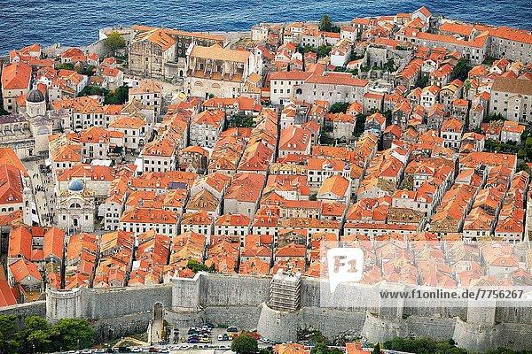 Hügel  Ansicht  Berg  Altstadt  Luftbild  Fernsehantenne  Kroatien  Dalmatien