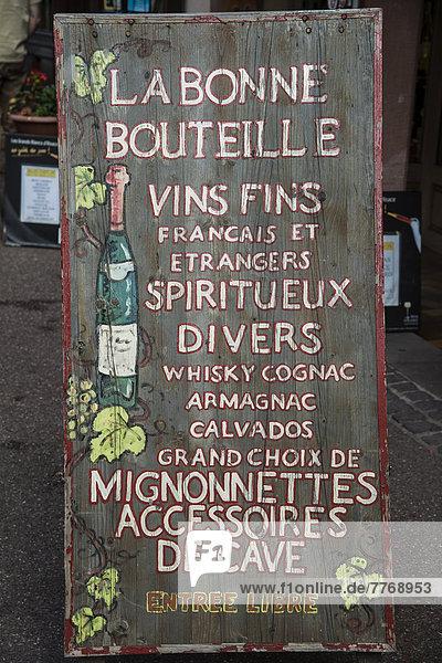 Werbeschild Weinhandlung