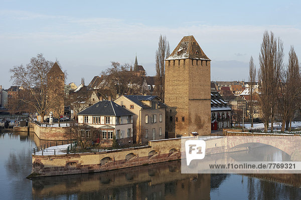 Ponts couverts or covered bridges over the Ill River and tower of the city wall