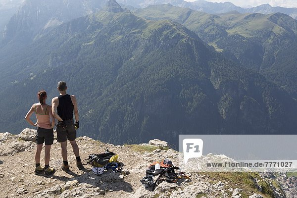 Bergsteiger  nahe  Europa  Berg  Dolomiten  Canazei  Italien