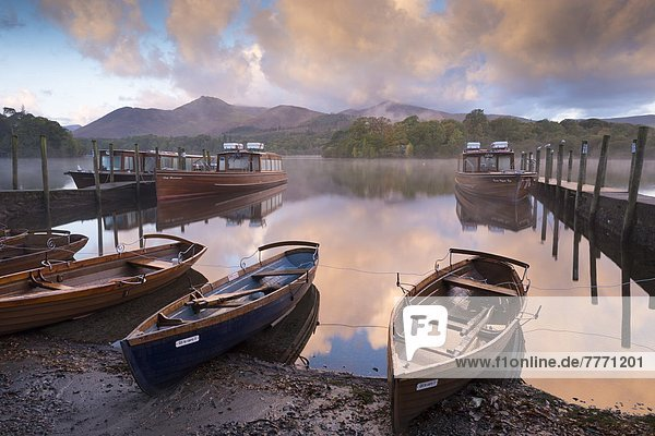 Boats and jetties near Friars Crag at dawn  Derwent Water  Lake District National Park  Cumbria  England  United Kingdom  Europe