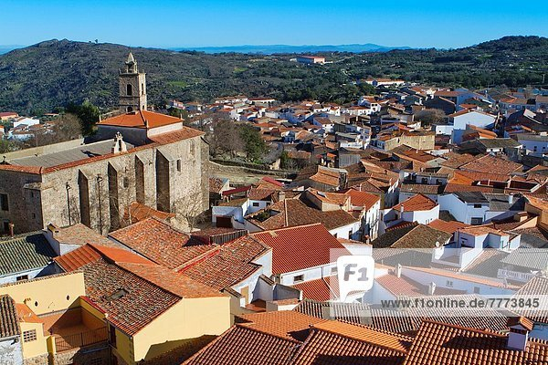Overview of Montanchez and San Mateo church,  in Caceres province,  Extremadura,  Spain.