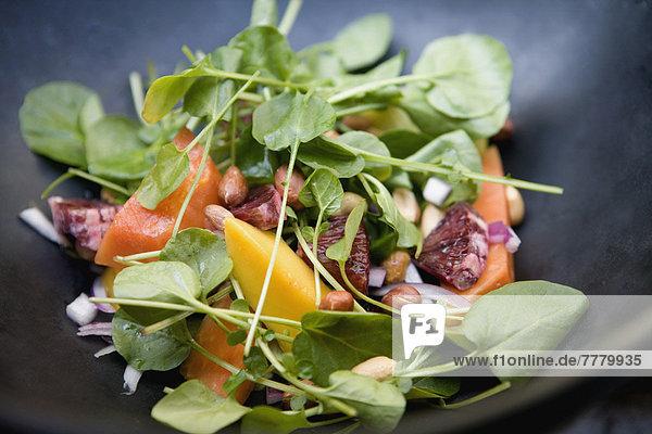 hoch  oben  nahe  Gesundheit  Salat  bunt