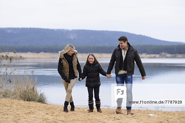 Parents with daughter  Upper Palatinate  Bavaria  Germany  Europe