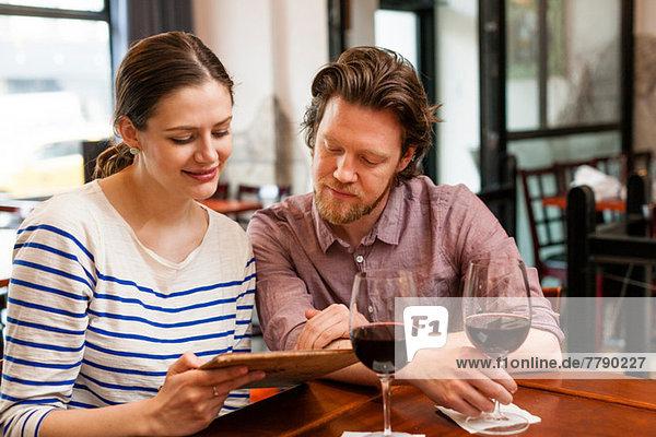 Couple at wine bar