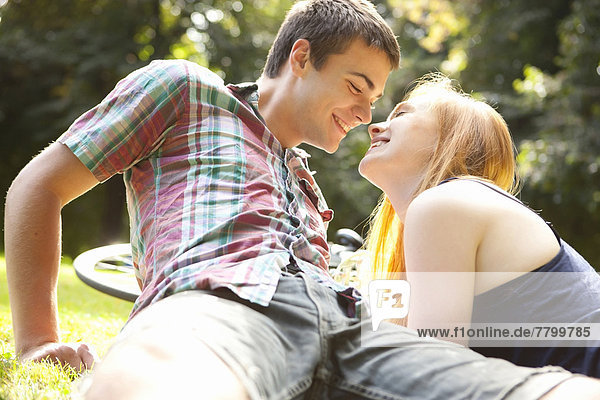 Young Couple in Park on a Summer Day  Portland  Oregon  USA