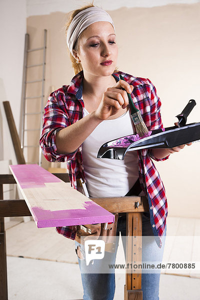 junge Frau junge Frauen streichen streicht streichend anstreichen anstreichend Bauholz schießen Studioaufnahme