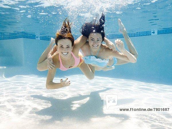 USA  Utah  Orem  Portrait of young women under water