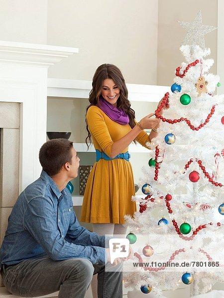 Fröhlichkeit  Baum  Weihnachten  schmücken  jung