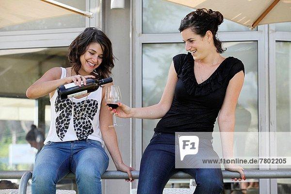 Außenaufnahme  Fröhlichkeit  Glas  Wein  2  Freund  freie Natur