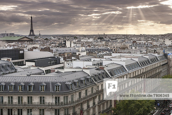 Cityscape of Paris with Eiffel Tower  view from the rooftop terrace of the Galeries Lafayette