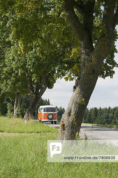 Germany  Bavaria  Camping bus on road