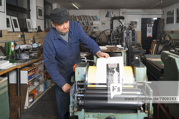 Man working in print shop