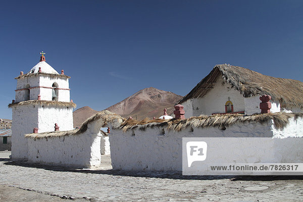 Chile  North Chile  Norte Grande  andes  altiplano  South America  church  church tower  village  Parinacota  Lauca  national park  architecture  building  structure