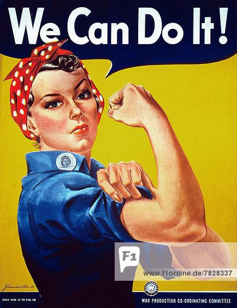 Vereinigte Staaten von Amerika  USA  Frau  Produktion  Poster  Krieg  amerikanisch  Fabrikarbeiter  Zweiter Weltkrieg  II.