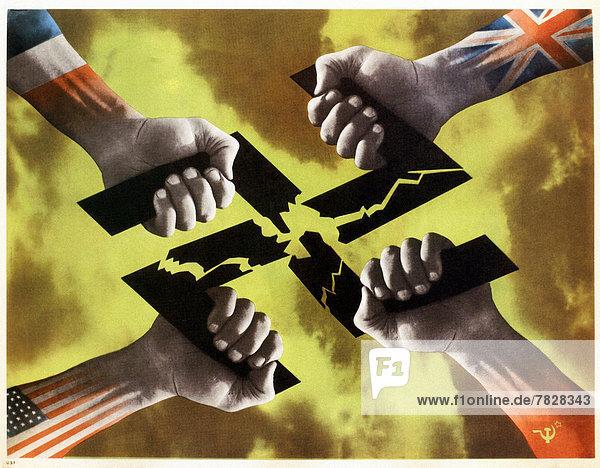 Vereinigte Staaten von Amerika  USA  Teamwork  Poster  Krieg  amerikanisch  Faust  Zweiter Weltkrieg  II.