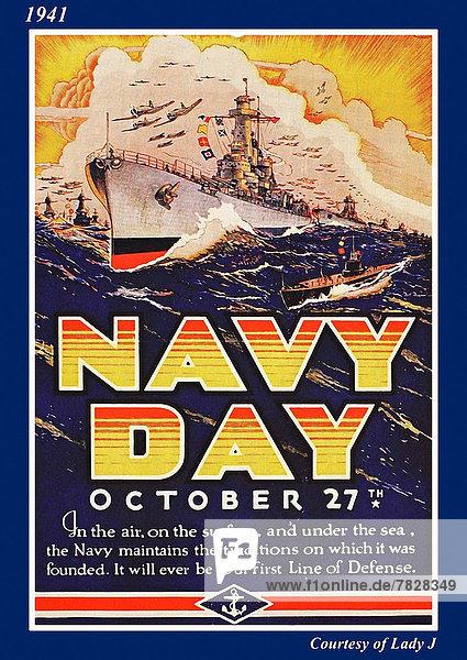 Vereinigte Staaten von Amerika  USA  Flugzeug  Schiff  Poster  Krieg  amerikanisch  Zweiter Weltkrieg  II.